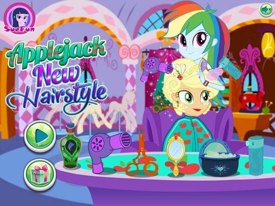Zadbaj o wygląd jednej z głównych bohaterek Equestria Girls! Dziś wcielisz się w rolę fryzjerki.  http://www.ubieranki.eu/ubieranki/10299/applejack-_-nowa-fryzura.html