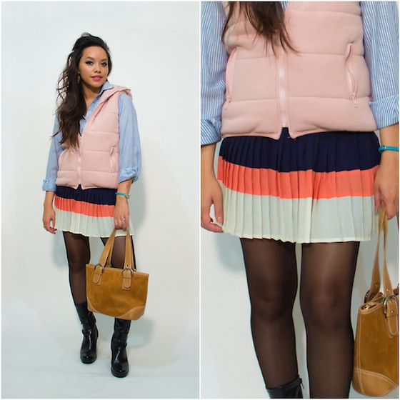 Forever 21 Pleated Color Block Skirt, Kenneth Cole Unlisted Boots, Vintage Striped Button Down Shirt, Vintage Bag