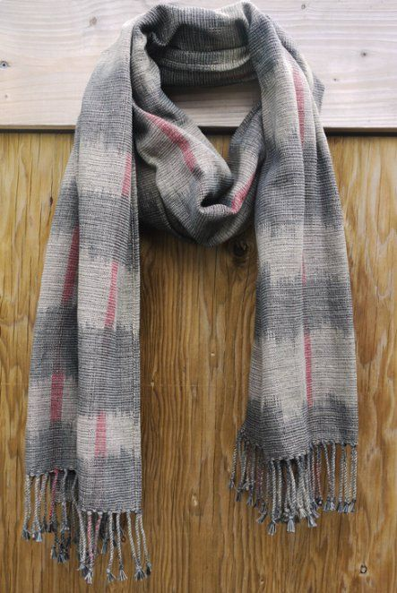 Ikat Scarf - Grey Mix. Hand woven on traditional looms in the Philippines. $141 on Ethical Ocean. #handmade