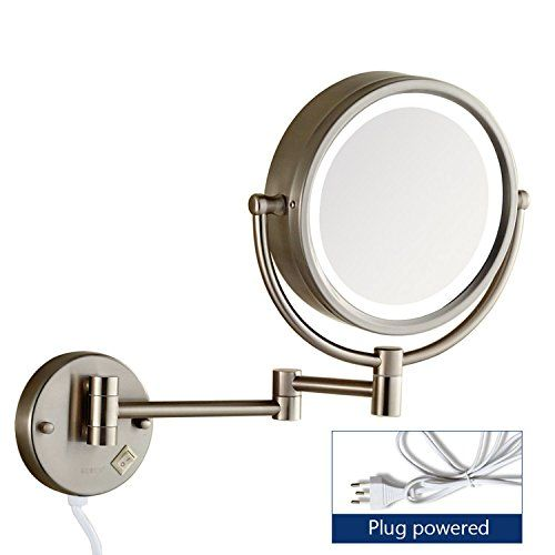 Gecious Wall Mount Magnifying Mirror With Light With 10x Magnification Led Lighted 8 Inches Double Sided Powered By Mirror With Lights Mirror Magnifying Mirror