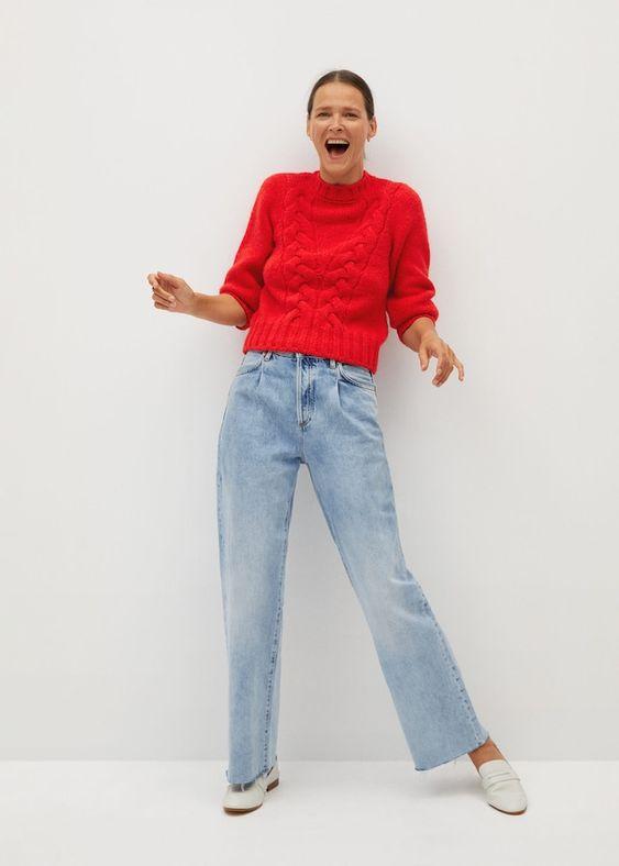 Camisola oitos com pormenores abertos - Cardigãs e camisolas de Mulher | Mango Portugal