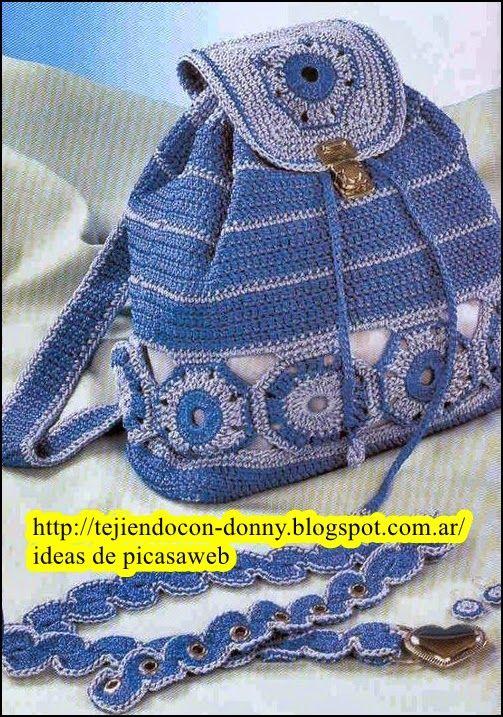 Tejidos a crochet ganchillo patrones bolsos y - Como hacer bolsos tejidos ...