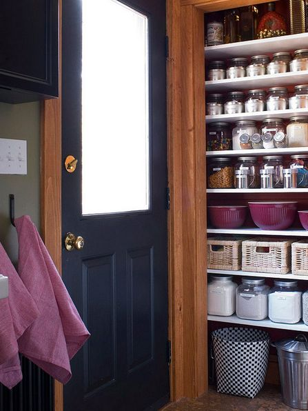 Streamline your pantry's look by transferring dry goods  into airtight, clear containers.
