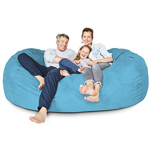 Lumaland Luxury 7 Foot Bean Bag Chair With Microsuede Cover Light Blue Machine Washable Big Size Sofa And Giant Lounger Furniture For Kids Teens And Adults In 2020 Cool Bean