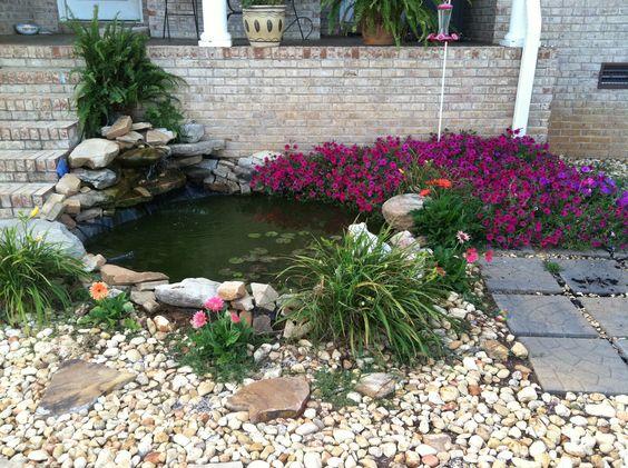 Backyard koi goldfish pond outdoors pinterest for Outdoor goldfish pond
