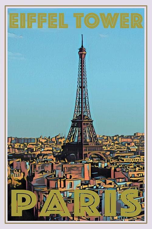 View Of Paris Retro Travel Poster Vintage Travel Posters Retro Poster