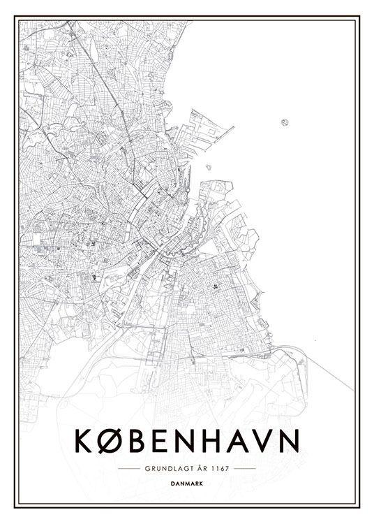 Kobenhavn Kort Plakat Plakater Kort Verdenskort