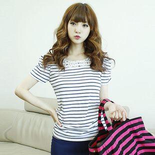 2013春夏新款 韩版女装装新款条纹圆领蕾丝短袖T恤 6230-淘宝网