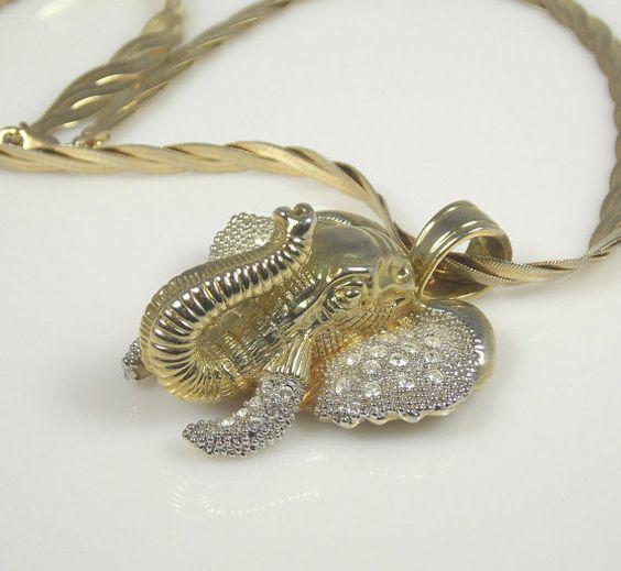 Vintage Figural Elephant Head Rhinestone Necklace by TheFashionDen, $20.00