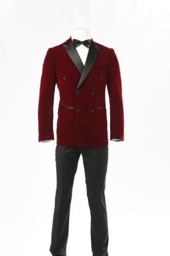 Details about Play Boy Italian Velvet Red Maroon Slim Fit Suit