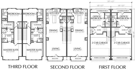 Duplex Townhouse Plan E0169 BB
