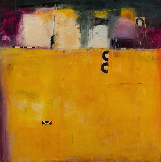 Carolyn Cole, Yellow 61202, 41x41, mixed media on canvas, September 2012 at Gallery KH
