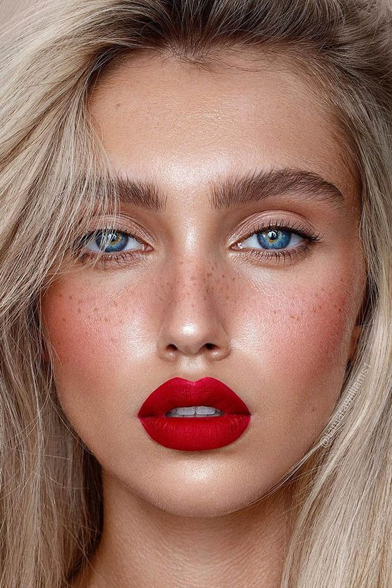 wedding makeup 2019 natural blonde bride with red lips tamarawilliams1