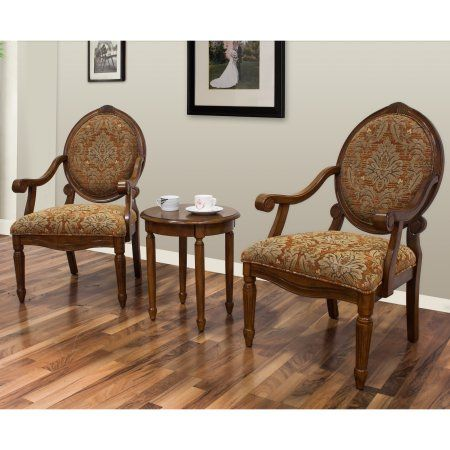 Best Master Furniture's Miranda 3-Piece Traditional Living Room Accent Chair and Table Set, Brown