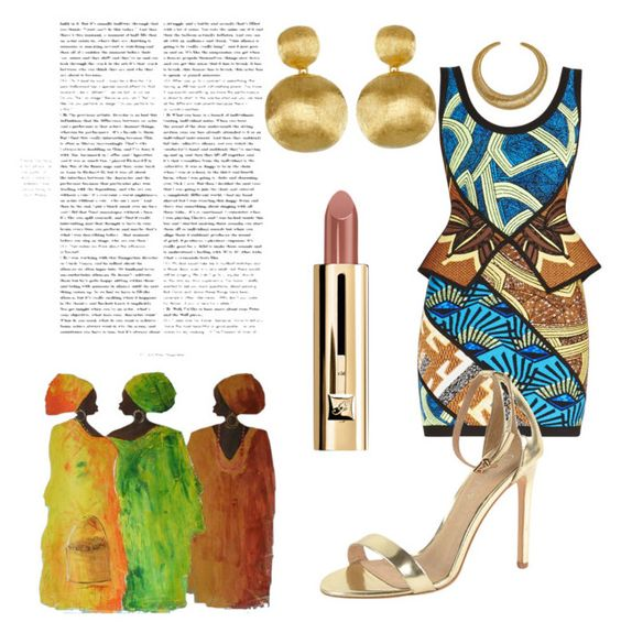"""African Queen"" by daijah-escobar on Polyvore featuring Hervé Léger, Marco Bicego, Hissia, J/Slides and NOVICA"