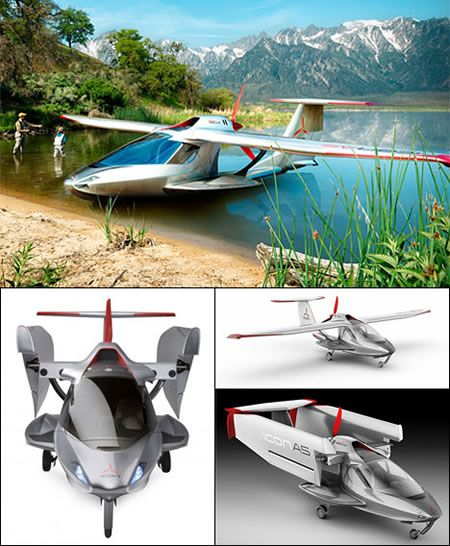 Icon A5 - Convertible sea plane that can also drive around on land.: