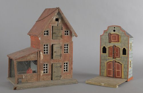Late 19th. century wood & litho barn and smaller painted barn.
