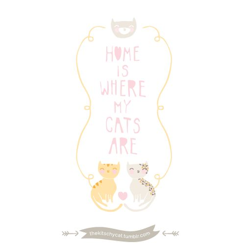 home is where my cats are | ... include: gifts for cat lovers, cats, cute, drawing and illustration