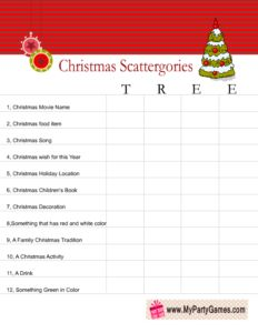 scattergories inspired christmas game worksheet using word tree office christmas games - Office Christmas Games
