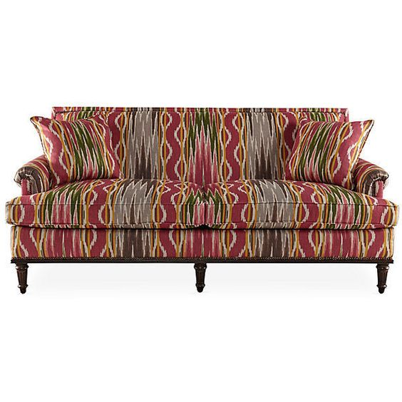 """Anaheim 78"""" Sofa Berry/Multi Linen Settees (4,820 CAD) ❤ liked on Polyvore featuring home, furniture, sofas, nailhead couch, colorful furniture, hand made furniture, linen couch and nailhead furniture"""