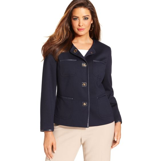 Plus Size Jones New York | Jones New York Signature Plus Size Patchpocket Jacket in Blue (Swiss ...