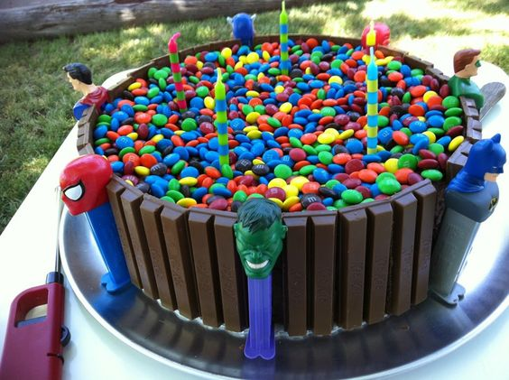 My addition to the standard KitKat Cake. I used superhero
