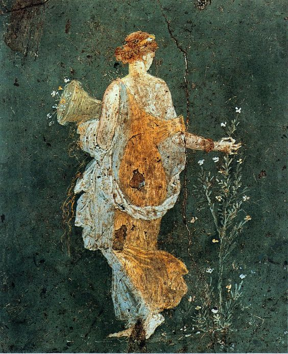 Flora, woman picking flowers with a cornucopia in the ruins of Pompeii, 1-45 AD.: