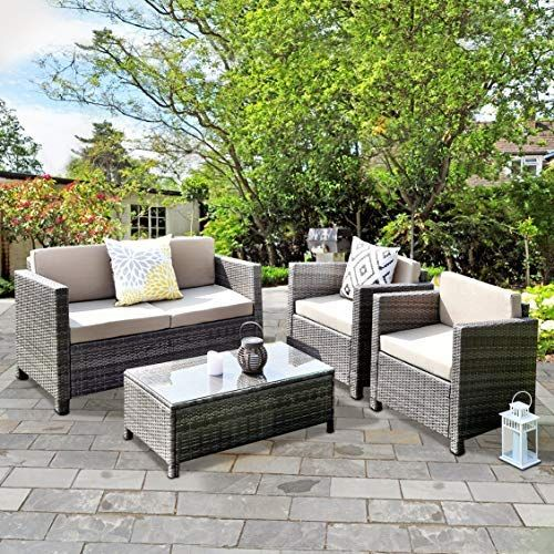 Wisteria Lane Outdoor Patio Furniture Set 5 Piece Conversation Set Rattan Sectional Sofa Couch Loveseat Chair Gray Wicker Tan Cushions Rattan Patio Furniture Furniture Couch And Loveseat