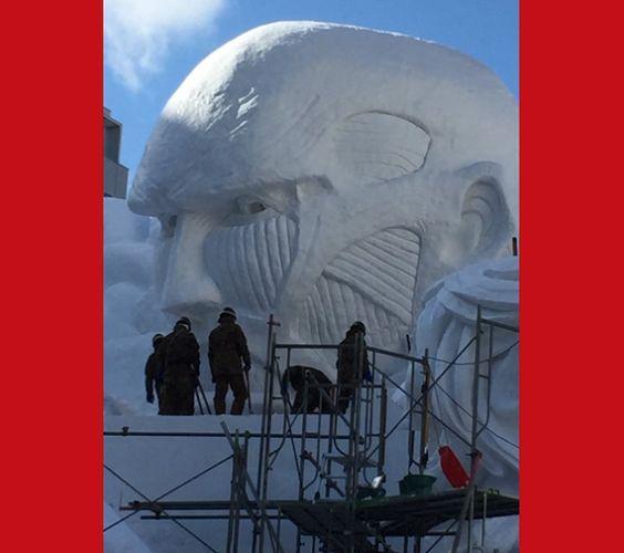 """Ataque a los Titanes"" ahora grandes figuras de nieve en el Festival de Invierno de Sapporo http://www.japonshop.com/  http://ow.ly/i/gmS8M http://ow.ly/i/gmS8u"