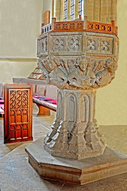 15th. Century Font, St.John the Baptist, Axbridge. Somerset. Dating from about 1420