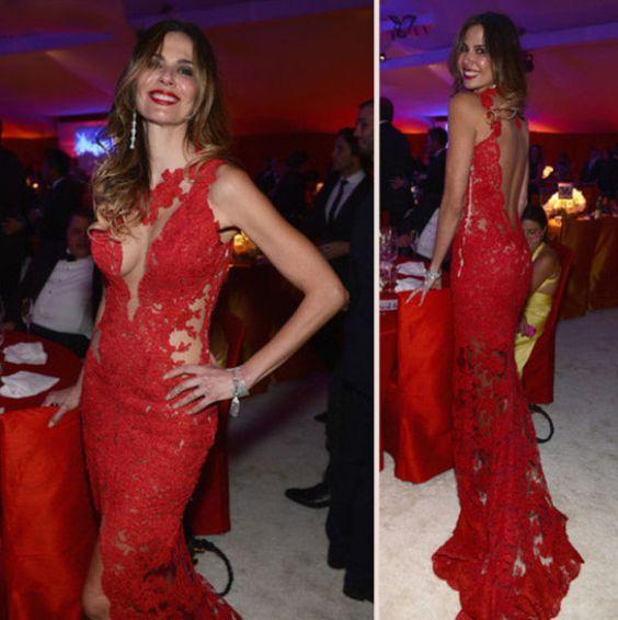 Sexy Mermaid Off The Shoulder Backless Lace Celebrity Dress Oscar Jennifer Lopez Zuhair Murad Red Carpet Dress
