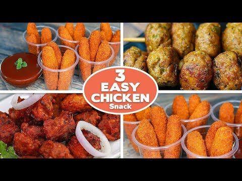 3 Easy Chicken Snacks Recipes Chicken Cheese Fingers Chicken Ball Chicken Pakora Toasted Youtube In 2020 Chicken Snacks Easy Chicken Snack Recipes