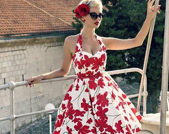 Pin Up robe robe dété Robe florale fleur de par LadyMayraClothing