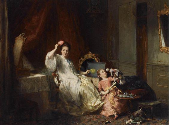 David Joseph Bles (Dutch, 1821-1899) Playing with the Puppets.  parashutov - ДЕТИ В ЖИВОПИСИ (ВО ЧТО ИГРАЮТ ДЕТИ С КУКЛАМИ? Продолжение темы)