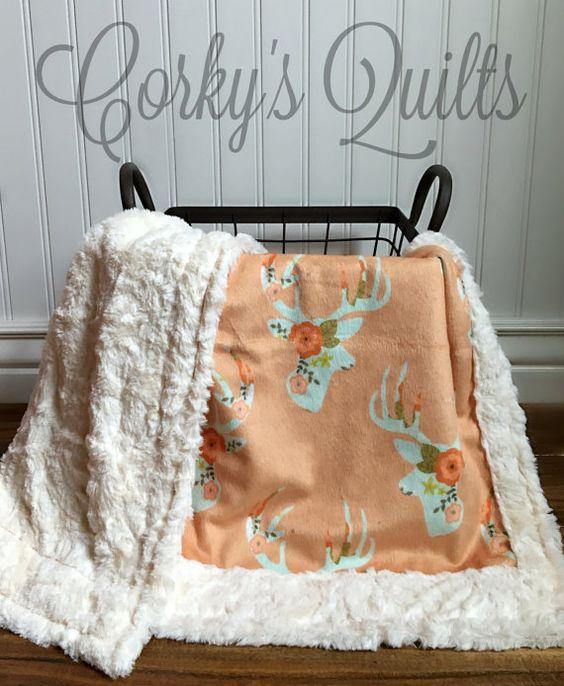 Deer Baby Blanket  Mint Floral Deer  by TheDesignerMinkyCo on Etsy