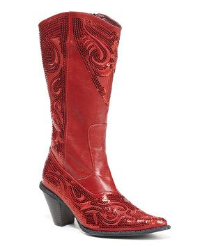 Look at this #zulilyfind! Red Embellished Cowboy Boot by Simply Couture #zulilyfinds