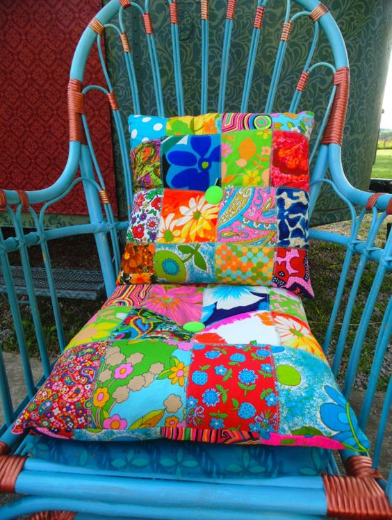 2 Boho HIPPIE patchwork pillows handmade by TheSleepyArmadillo