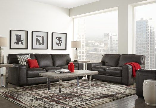 Picture Of Deangelo Dark Gray 2 Pc Leather Living Room From