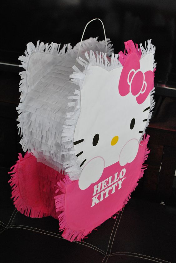 Hello Kitty Piñata. Very proud of how the piñata turned out for my daughters party!!!    Got the idea to of how to make the pinata from the link http://www.cutoutandkeep.net/projects/hello-kitty-piata. Made some minor adjustments to fit my needs.