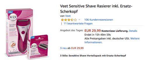 Veet Sensitive Shave Rasierer Inkl Ersatz Scherkopf Rasieren Scheren Drogerie