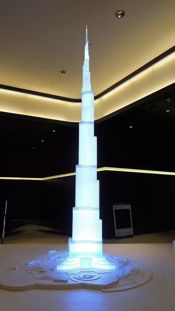 The model of Burj Khalifa in the lobby
