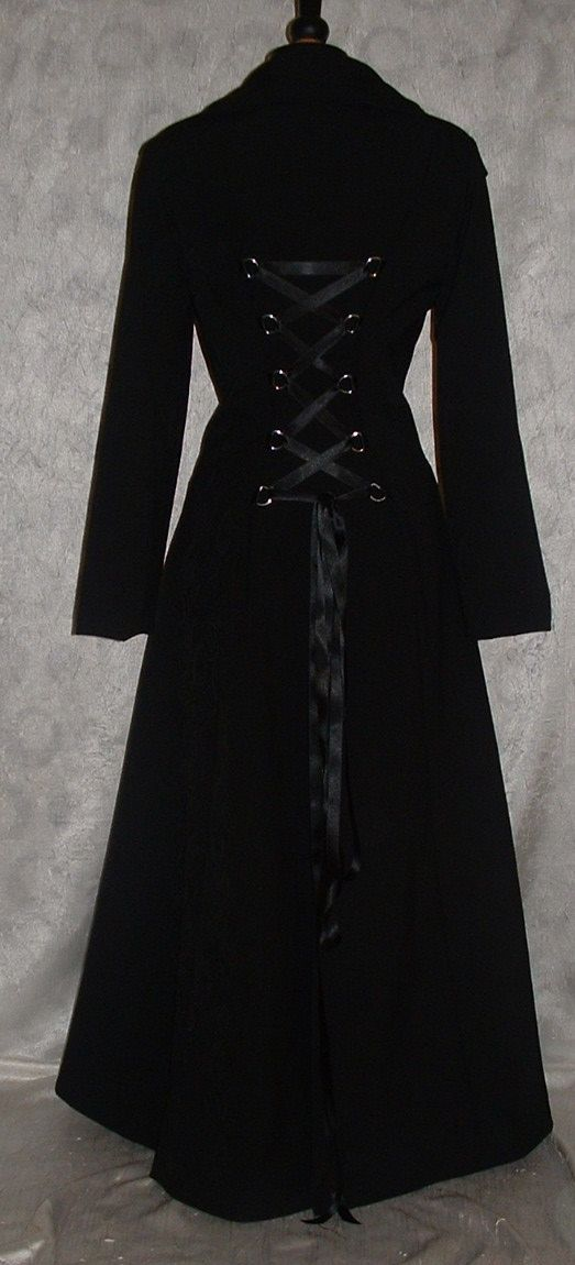 Long Coat black Fit n Flare Full Length Gothic Matrix Steampunk