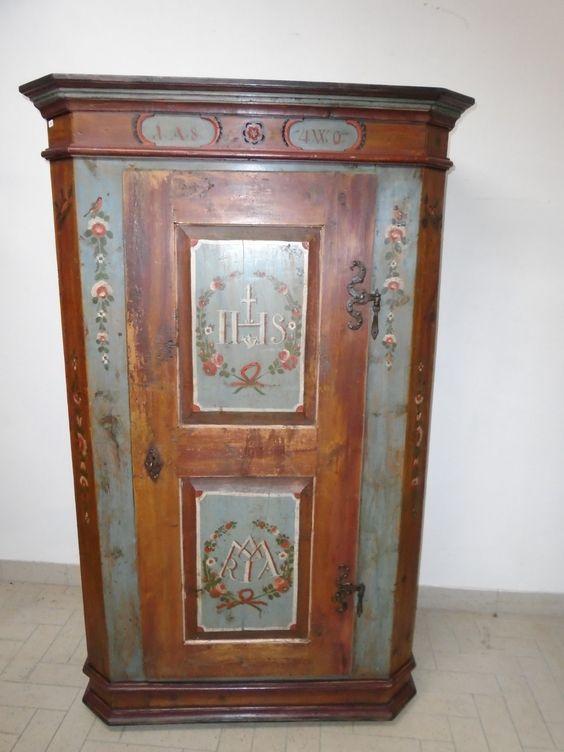 Armadio dipinto prov osttirol antichit evelina for Mobili antichi vendita