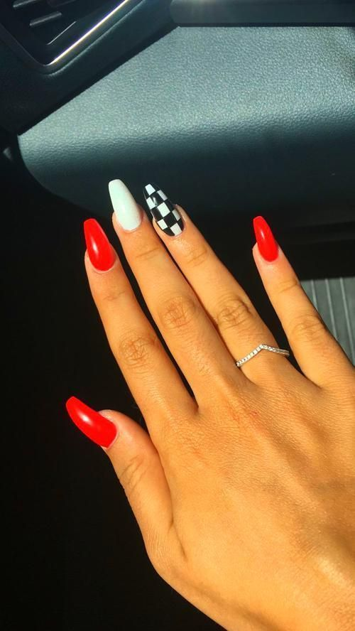 Acrylic Nails In 2020 Acrylic Nails Coffin Short Red Acrylic Nails Short Acrylic Nails