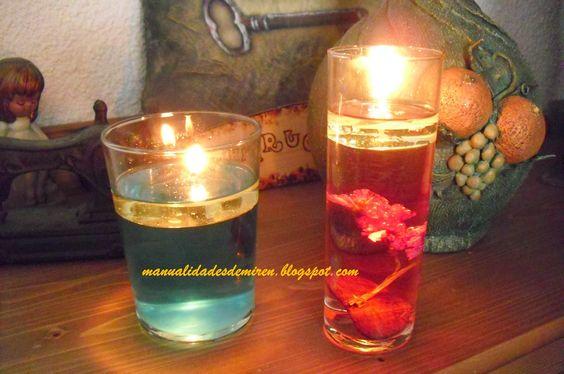 De todo un poco velas con agua y aceite crafts candles pinterest tutorials - Velas de agua ...