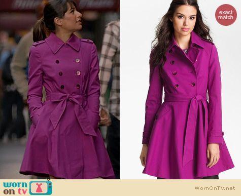 Rachel's magenta pink trenchcoat on Glee.  Outfit Details: http://wornontv.net/19541/ #Glee