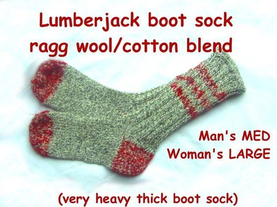 Lumberjack Boot Socks --- Handknit Wool Ragg/ Cotton blend --- VERY THICK --- L ~~~Handmade woolen socks~~~    Size: LARGE ( 9-11 inch foot