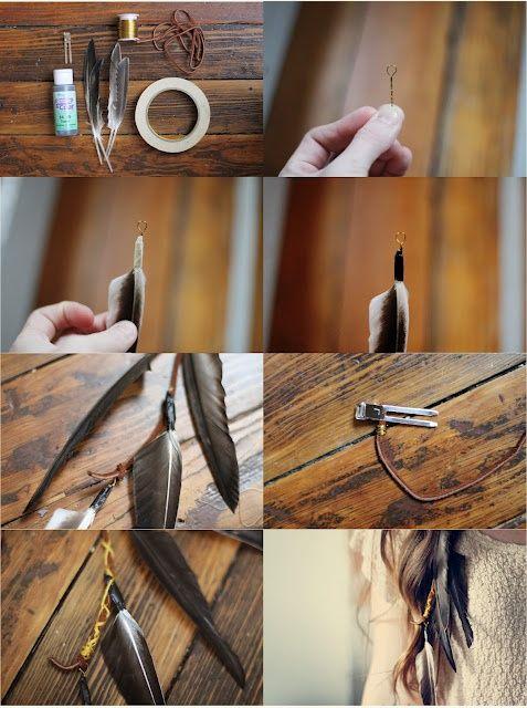 DIY feather hairpieces - Titania/fairies