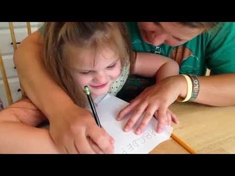 Isabella 27- Trying to Teach Severely Autistic Child to Write ABC's. - YouTube