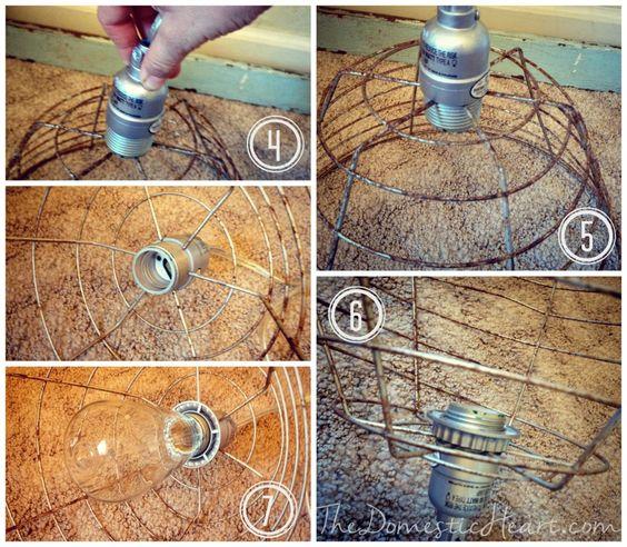 5 minute diy vintage industrial pendant light tutorial for Diy rustic pendant light
